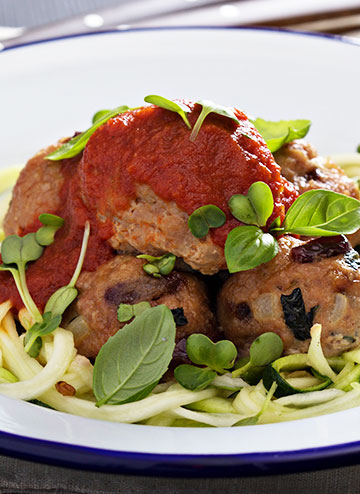 Grass-Fed Meatballs & Zucchini Noodles